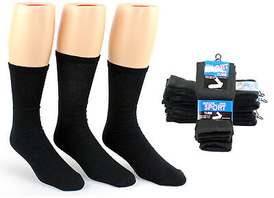 Lot of 60 Pairs Wholesale Men's Black Cotton Tube Socks FREE SHIPPING!