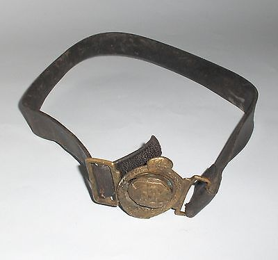 ANTIQUE INITIAL PRINCIPALITY BULGARIA BOY SCOUT LEATHER BELT with BRASS BUCKLE