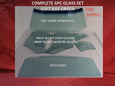 1968 1969 Camaro Or Firebird Complete Windshield Sides & Back Glass 6 Pc Green