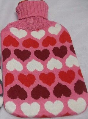 Set of 2 Hot Water Bottles with Knitted Cover Heart Shape Soft Cozy 2Ltr Big NEW