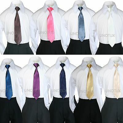 9 Solid Colors Wedding SATIN Clip-on NECK TIE for  Baby Kid Teen Formal Boy Suit
