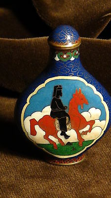 Antique 19C Chinese Snuff Bottle Cloisonne Enamel High Relief Tree&Flowers Sign