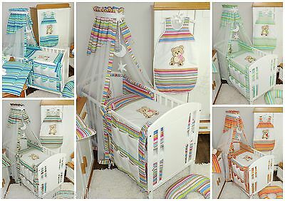 Nursery 10 pcs Set/Bumper/Canopy/Covers/Canopy holder to fit  BABY COT or COTBED