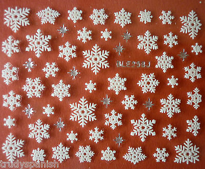 Christmas Nail Art Stickers Decals Silver White Snowflakes Stars Rhinestones 258