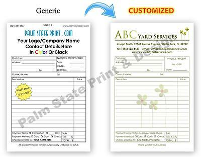 custom landscaping gardening invoice receipt book work order 2 part copy sets