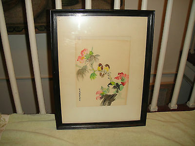 Vintage Chinese Art Work-Painting Or Drawing-Birds In Trees W/Flowers-Framed