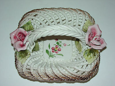 Capodimonte Woven Basket With Roses