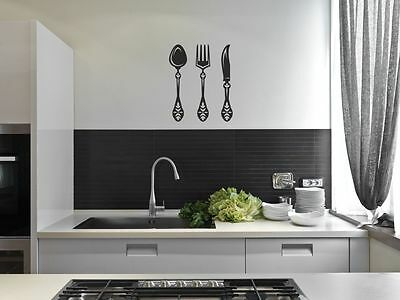 Cutlery Fork Spoon Knife Kitchen Wall Stickers Cafe Vinyl Art Decals Decor DIY