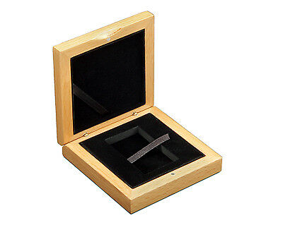 Wooden box wood case for 1 rectangular coin medal 34 x 54 mm