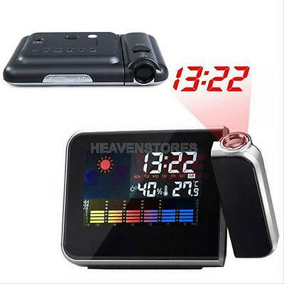 LED Digital Time Projector Weather Thermometer Snooze LCD Color Alarm Clock UK