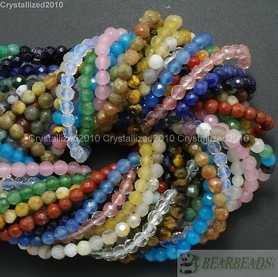 """Natural Gemstones 3.5mm ~ 4mm ~ 4.5mm Faceted Round Beads 15"""" ~ 16"""" Pick Stone"""