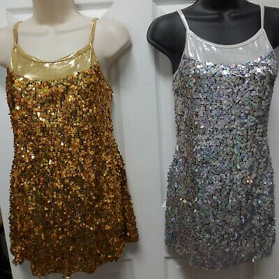 NEW Jazzy SEQUIN DRESS w/ Complete leotard under the dress Gold or Silver ch/adl