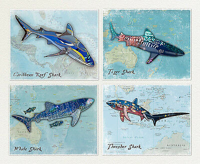 Shark Wall Art.Great White,thresher, Whale Shark,Ocean,boys/Kids Wall Art Prints