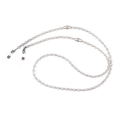 White Pearl Beaded Eyeglass Cord Reading Glasses Eyewear Spectacles Chain Holder