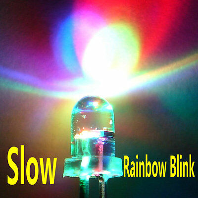 100pcs 5mm RGB (Red, Green, Blue) Slow Flash Round LED Lamps Rainbow Blink #0183
