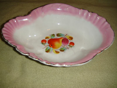 Antique KPM Germany Fruit Serving Bowl-Pink Color-Pear Pattern-Scalloped Rim