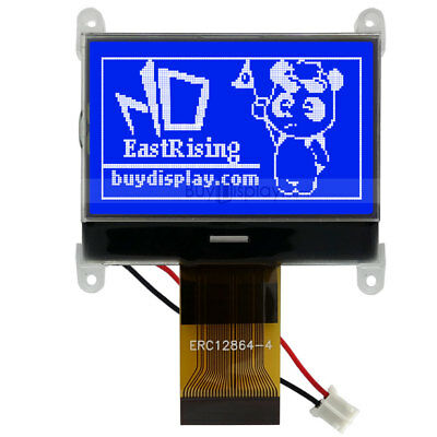 Blue 128x64,Graphic LCD Module Display SPI Serial,ST7565P w/Tutorial,Connector