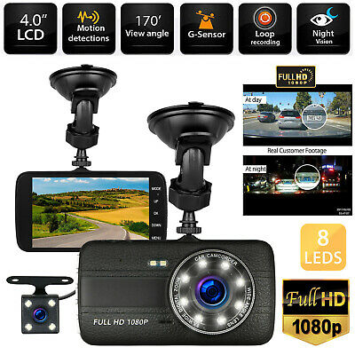 "4"" HD 1080P Dual Lens Car Dashboard DVR Camera Video Recorder Dash Cam G-Sensor"