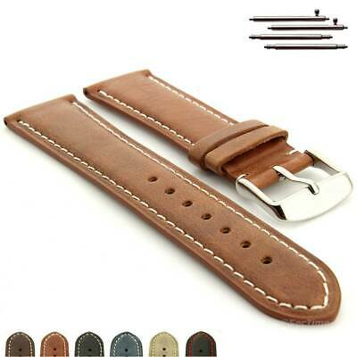 Genuine Leather Mens Watch Strap Band Twister Stainless Steel Buckle Spring Bars