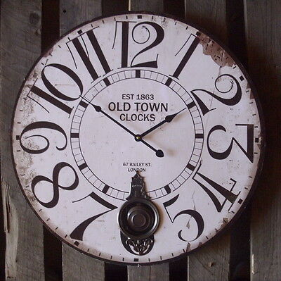 BIG PENDULUM WALL CLOCK OLD TOWN COUNTRY STYLE ANTIQUE NOSTALGIA 58cm NEW