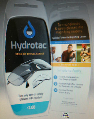 Hydrotac Stick on reading lens Great 4 SUNGLASSES 1.25,1.50,1.75,2.00,2.50,3.00