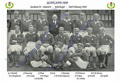 "SCOTLAND 1920 (v Ireland) 12"" x 8"" RUGBY TEAM PHOTO PLAYERS NAMED"