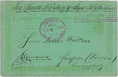 HONDURAS - POSTAL STATIONERY CARD to GERMANY 1908 - TRAINS