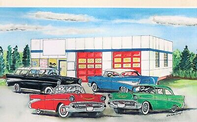 PERSONALIZED 1957 Chevy Repair Garage Art Print Nomad hot rod car gas station v8