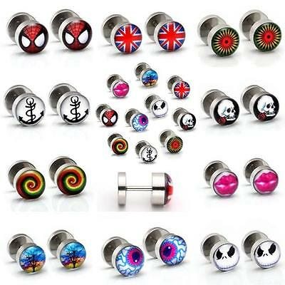 18ga Stainless Steel Various Prints Stud Earring Fake Cheater Ear Tunnel Punk