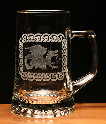 Dragon celtic mythical creature engraved glass pint tankard gift present