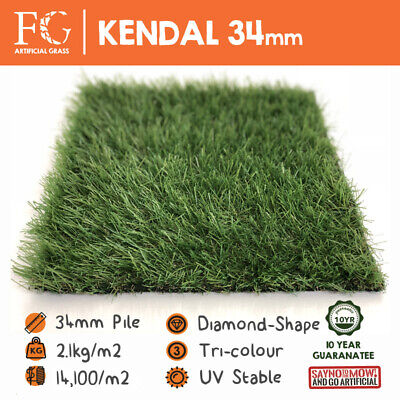 34mm Kendal Artificial Grass European Fake Lawn / Turf / Astro - 4m & 2m Widths