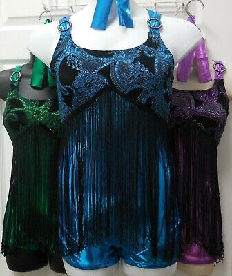 NWT Fringed Shorty Unitard Tap Jazz Rhinestone Accent Dance Costume 3 COLORS