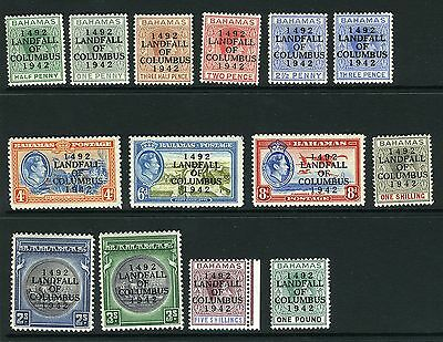 BAHAMAS-1942 LANDFALL OVERPRINTS set of 14 lightly mounted mint Sg 162-175 V1852