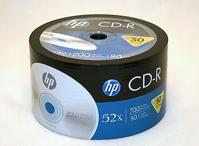 1000 52X HP Logo Blank CD-R CDR Recordable Disc FREE EXPEDITED SHIPPING