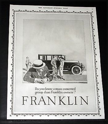 1924 Old Magazine Print Ad, Franklin, Do You Know More Contented Car Owners Art!