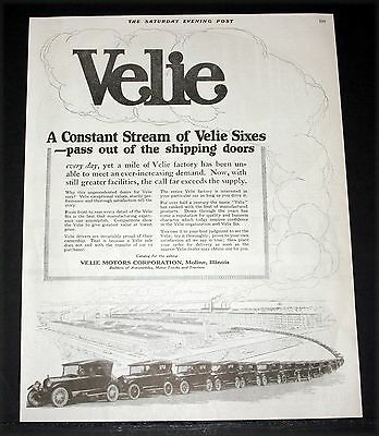1919 Old Magazine Print Ad, A Constant Stream Of Velie Sixes From Factory Doors!