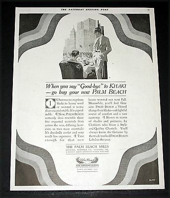 1919 Old Magazine Print Ad, Palm Beach Suits, Say Good Bye To Khaki, Flato Art!