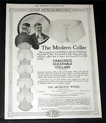 1919 Old Magazine Print Ad, Dupont, Challenge Cleanable Collars Are Modern, Art!