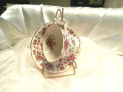 Vintage Royal Albert bone china Teacup saucer old pink roses Nell Gwynne Chelsea