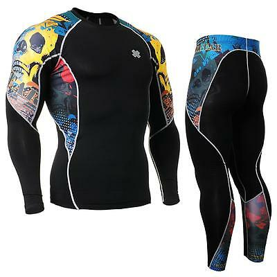 FIXGEAR C2L/P2L-B46 SET Compression Shirts & Pants Skin-tight MMA Training Gym