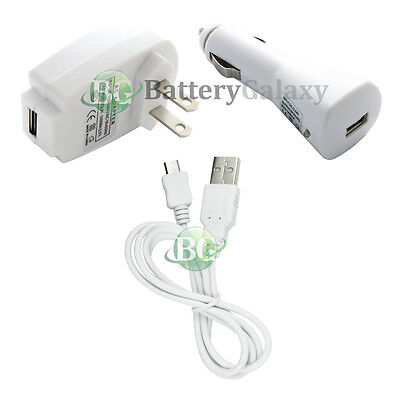 NEW HOT! Micro USB Cable+Car+Battery Wall Charger for Android Cell Phone 50+SOLD