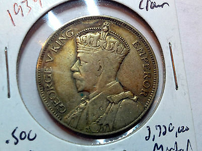 1934 New Zealand Silver One Half Crown Nice Grade Coin