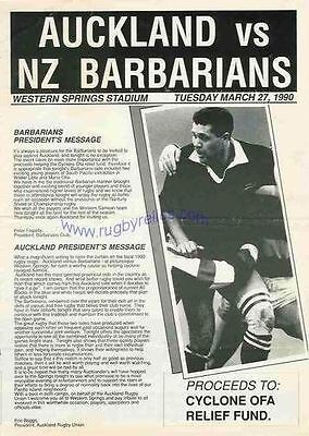 AUCKLAND v NZ BARBARIANS 1990 RUGBY PROGRAMME