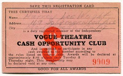 """1940s Vintage """"VOGUE THEATRE"""" Club Card [Southern California]"""