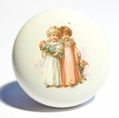 Vintage 2 Girls Dolls Home Decor Ceramic Kitchen  Knob Drawer Cabinet Pull