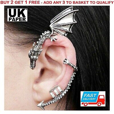 New Silver Dragon Snake Ear Cuff Clip Wrap Lure Earring Gothic Punk Rock Gift Uk