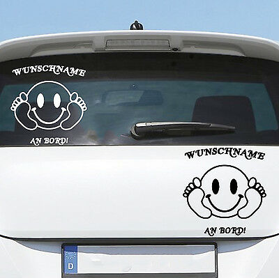 Auto Aufkleber SMILEY Kind Baby an Bord on Tour Wunschname Name Sticker 342