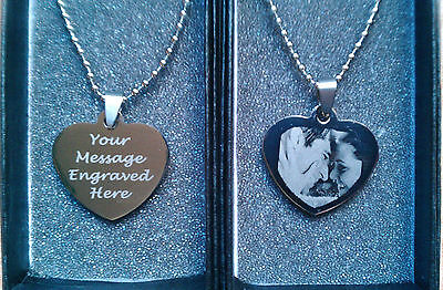 Personalised Engraved Heart Pendant Stainless Steel Army Dog Tag Birthday Gift