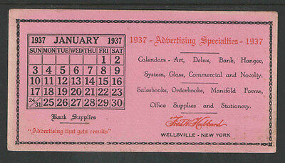 FRED HUBBARD PRINTING WELLSVILLE NEW YORK Jan 1937 CALENDAR INK BLOTTER UNUSED