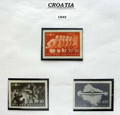 "Croatia 1945 Set- 3 Values ""1St Assault"" Mint Unhinged Stamps - Nez.drz.hrvatska"